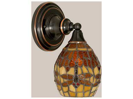 Toltec Lighting Black Copper & Amber Dragonfly Mini TiffGlass Wall Sconce