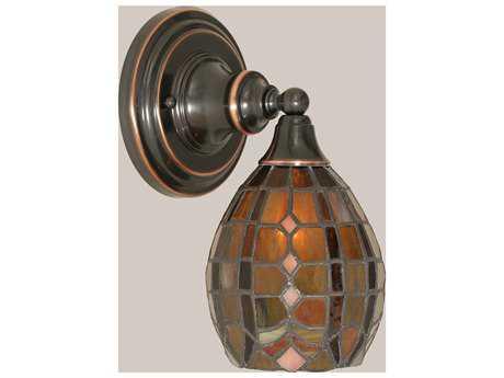 Toltec Lighting Black Copper & Paradise Mini TiffGlass Wall Sconce