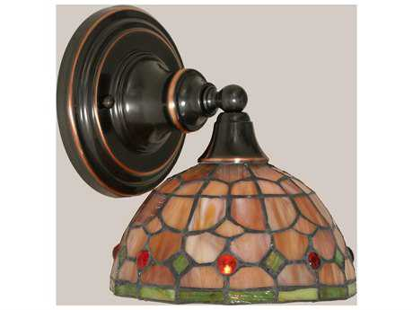 Toltec Lighting Black Copper & Rosetta Mini TiffGlass Wall Sconce