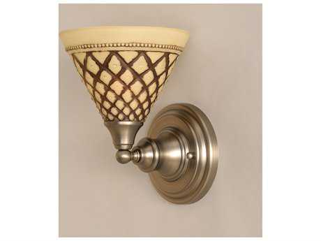 Toltec Lighting Brushed Nickel & Chocolate Icing Glass Wall Sconce