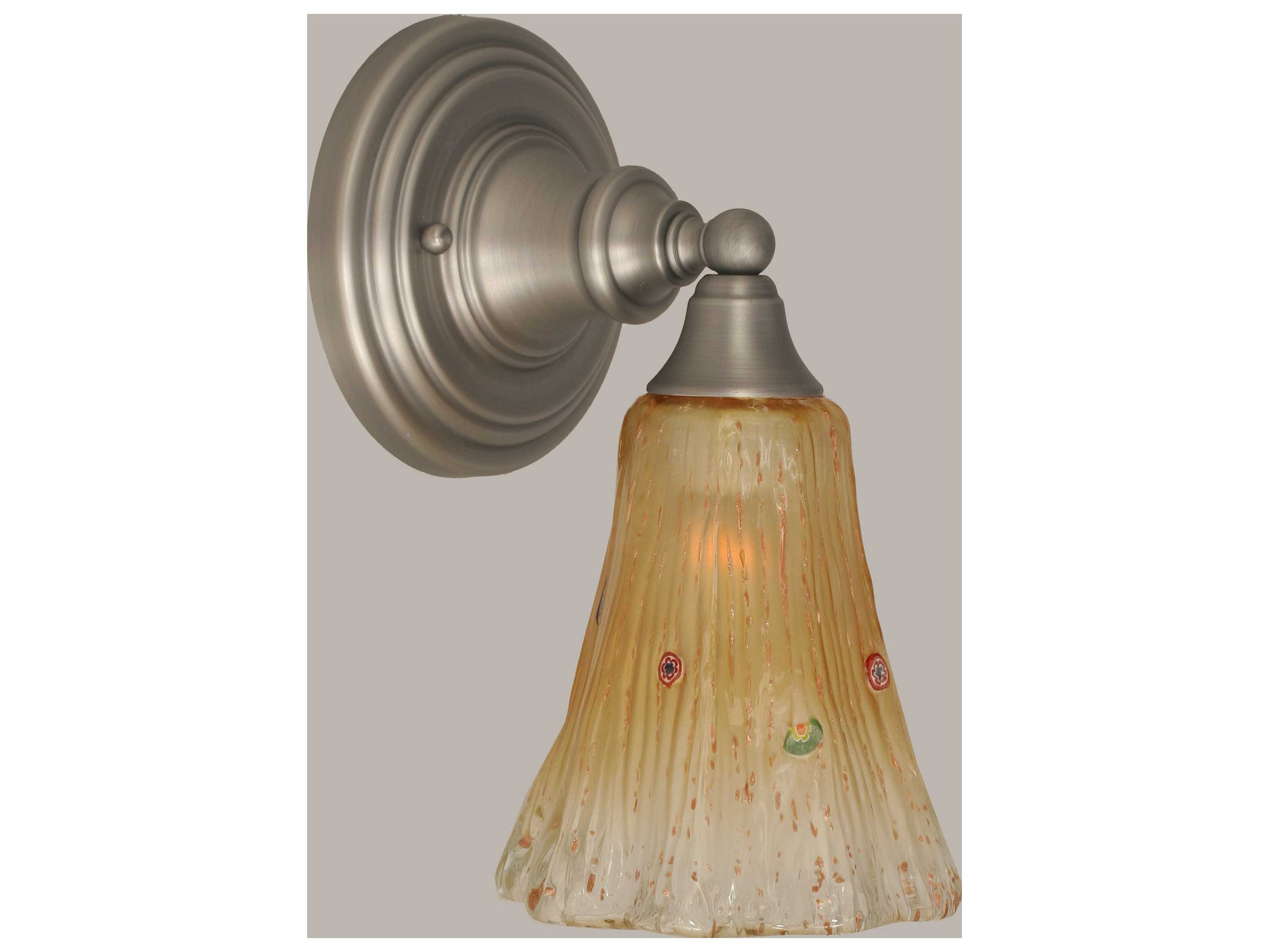 Amber Crystal Wall Lights : Toltec Lighting Brushed Nickel & Amber Crystal Glass Wall Sconce 40-BN-720