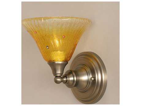 Toltec Lighting Brushed Nickel & Gold Champagne Crystal Glass Wall Sconce