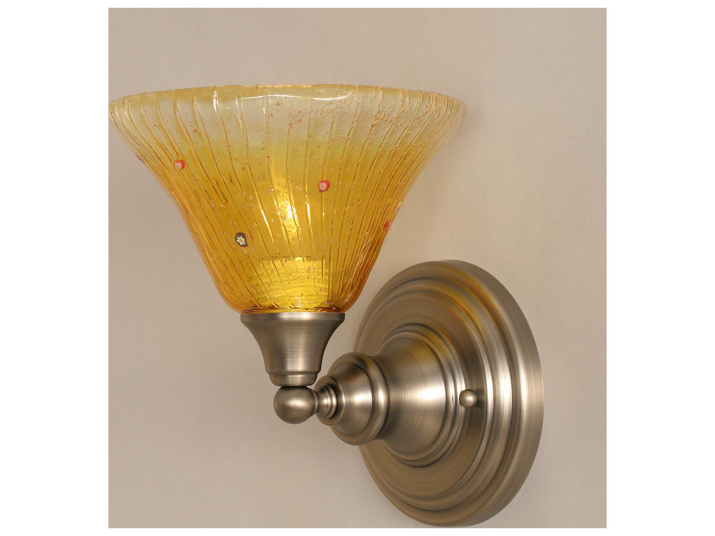 Bistro Globe Bath Sconce 4 Light: Toltec Lighting Brushed Nickel & Gold Champagne Crystal