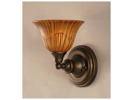 Toltec Lighting Bronze & Tiger Glass Wall Sconce