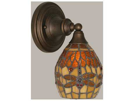 Toltec Lighting Bronze & Amber Dragonfly Mini TiffGlass Wall Sconce