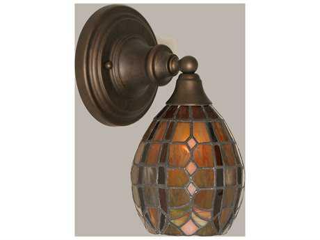 Toltec Lighting Bronze & Paradise Mini TiffGlass Wall Sconce