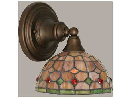 Toltec Lighting Bronze & Rosetta Mini TiffGlass Wall Sconce