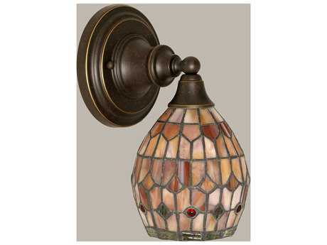 Toltec Lighting Dark Granite & Rosetta Mini TiffGlass Wall Sconce