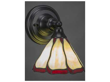 Toltec Lighting Any Matte Black with Honey & Burgundy Flair Tiffany Glass Wall Sconce