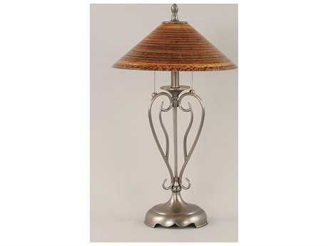 Toltec Lighting Olde Iron Brushed Nickel & Firre Saturn Glass Two-Light Table Lamp