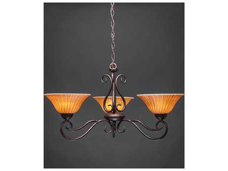 Toltec Lighting Olde Iron Bronze & Tiger Glass Three-Light 30.5'' Wide Chandelier