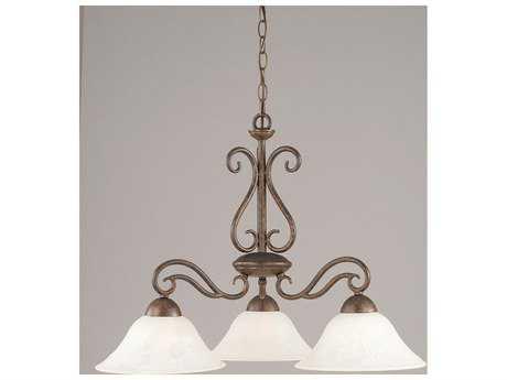 Toltec Lighting Olde Iron Bronze & White Marble Glass Three-Light 26.5'' Wide Chandelier