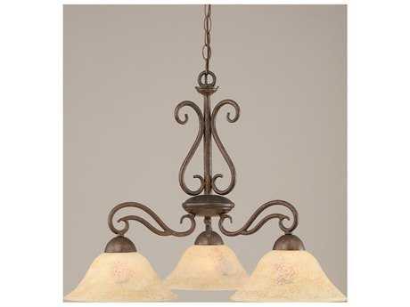 Toltec Lighting Olde Iron Bronze & Italian Marble Glass Three-Light 26.5'' Wide Chandelier