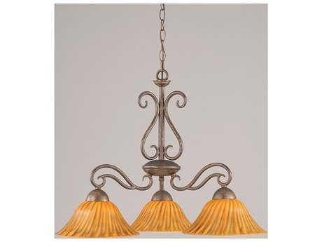 Toltec Lighting Olde Iron Bronze & Tiger Glass Three-Light 26.5'' Wide Chandelier
