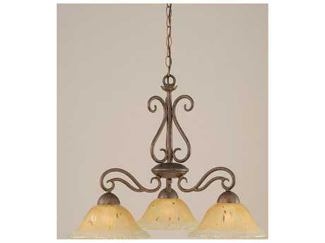 Toltec Lighting Olde Iron Bronze & Amber Crystal Glass Five-Light 26.5'' Wide Chandelier