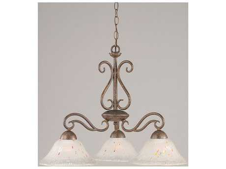 Toltec Lighting Olde Iron Bronze & Frosted Crystal Glass Three-Light 10'' Wide Mini-Chandelier