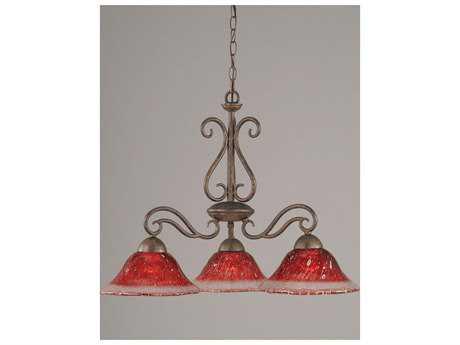 Toltec Lighting Olde Iron Bronze & Raspberry Crystal Glass Three-Light 10'' Wide Mini-Chandelier