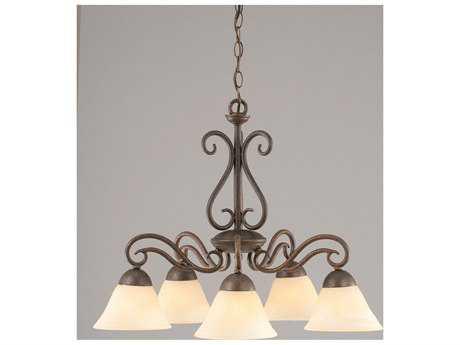 Toltec Lighting Olde Iron Bronze & Amber Marble Glass Five-Light 24.5'' Wide Mini-Chandelier