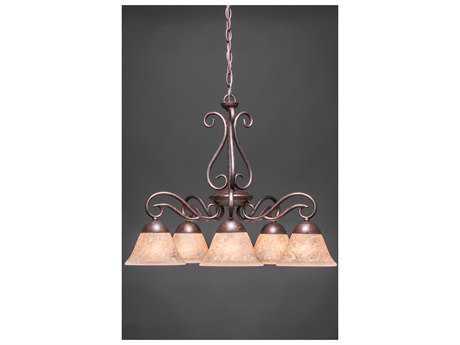 Toltec Lighting Olde Iron Bronze & Italian Marble Glass Five-Light 24.5'' Wide Mini-Chandelier