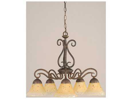 Toltec Lighting Olde Iron Bronze & Amber Crystal Glass Five-Light 24.5'' Wide Mini-Chandelier