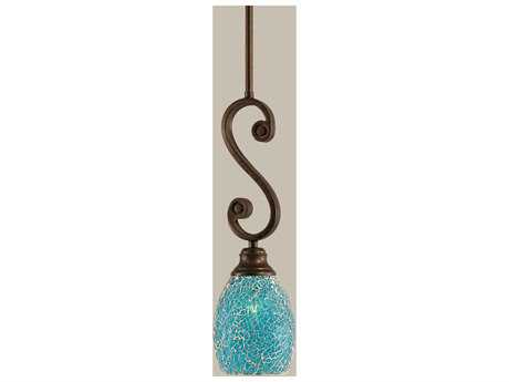 Toltec Lighting Curl Bronze & Turquoise Fusion Glass Pendant