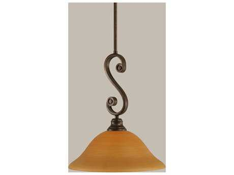 Toltec Lighting Curl Bronze & Cayenne Linen Glass Pendant