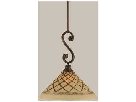 Toltec Lighting Curl Bronze & Chocolate Icing Glass Pendant