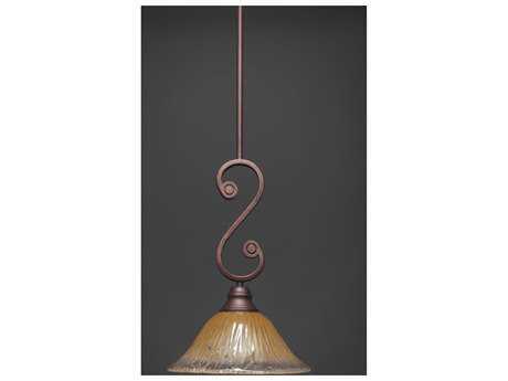 Toltec Lighting Curl Bronze & Amber Crystal Glass Pendant