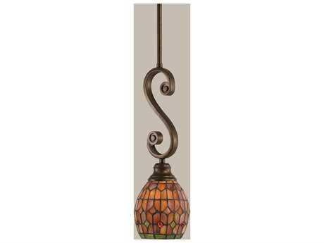 Toltec Lighting Curl Bronze & Paradise Mini Tiffany Glass Pendant