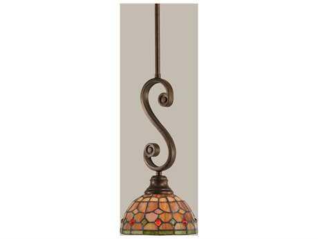 Toltec Lighting Curl Bronze & Rosetta Mini Tiffany Glass Pendant