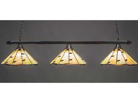 Toltec Lighting Square Black Copper & Autumn Leaves Tiffany Glass Three-Light Island Light