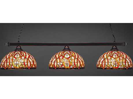 Toltec Lighting Square Black Copper & Persian Nites Tiffany Glass Three-Light Island Light