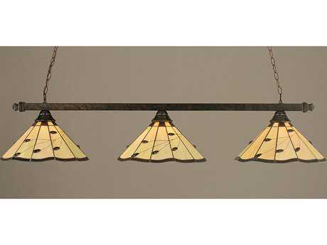 Toltec Lighting Square Bronze & Autumn Leaves Tiffany Glass Three-Light Island Light