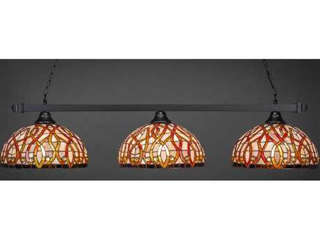 Toltec Lighting Square Matte Black & Persian Nites Glass Three-Light 55'' Wide Island Light