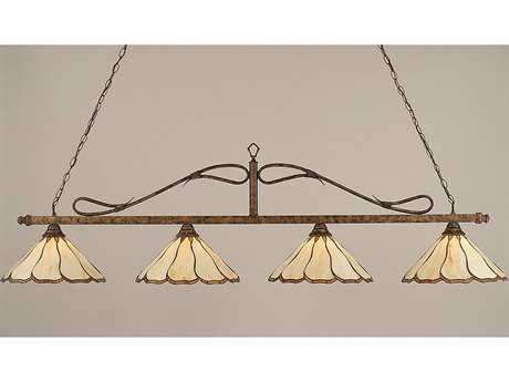 Toltec Lighting Scroll Bronze & Honey and Brown Flair Tiffany Glass Four-Light Island Light