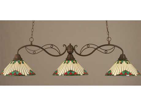 Toltec Lighting Jazz Bronze & Green Sunray Tiffany Glass Three-Light Island Light