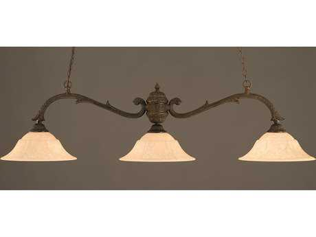 Toltec Lighting Octopus Bronze & Italian Marble Glass Three-Light Island Light