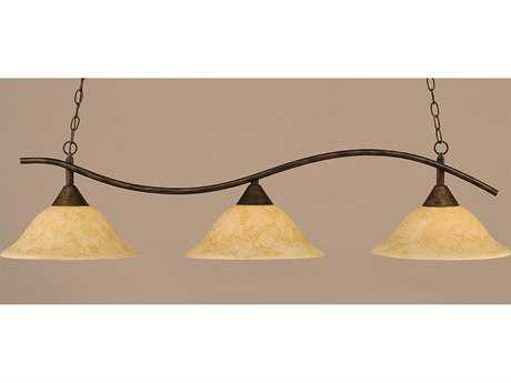 Toltec Lighting Swoop Bronze & Italian Marble Glass Three-Light Island Light