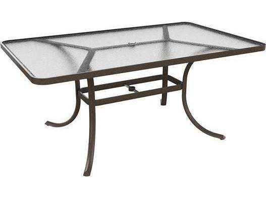 Tropitone Cast Aluminum 66 X 40 Rectangular Acrylic Dining Table With Umbrell
