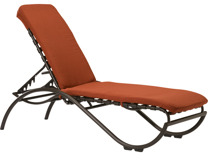 Tropitone la scala cross strap aluminum stackable chaise for Aluminum strap chaise lounge