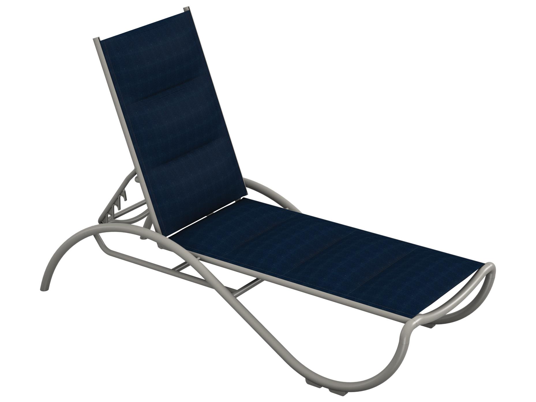 Tropitone la scala padded sling aluminum chaise lounge for Aluminum strap chaise lounge