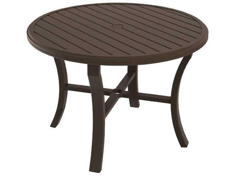 Tropitone Banchetto Aluminum 42 Round Dining Table With Umbrella Hole 401142U