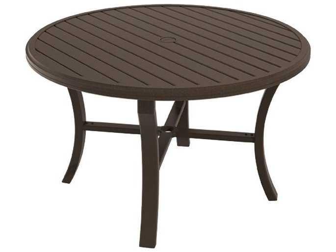 Tropitone banchetto aluminum 48 round dining table with - Aluminium picnic table with umbrella ...