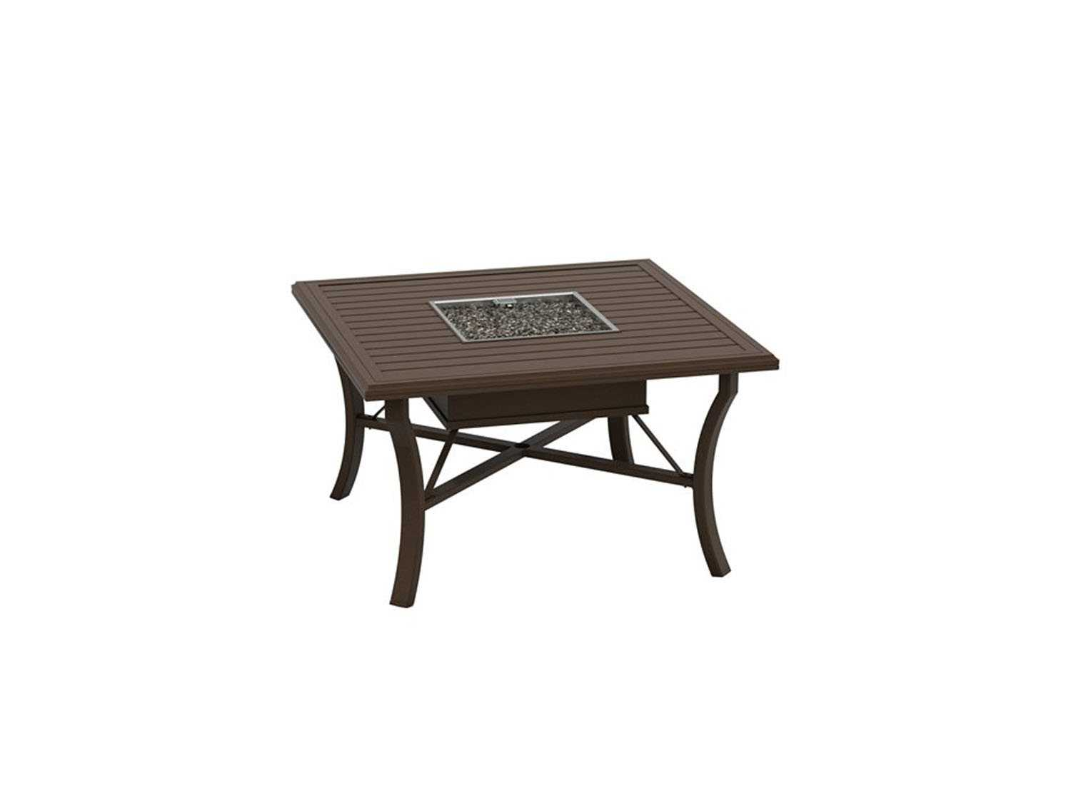 Tropitone Banchetto 48 Square Fire Pit Table Propane and Natural Gas