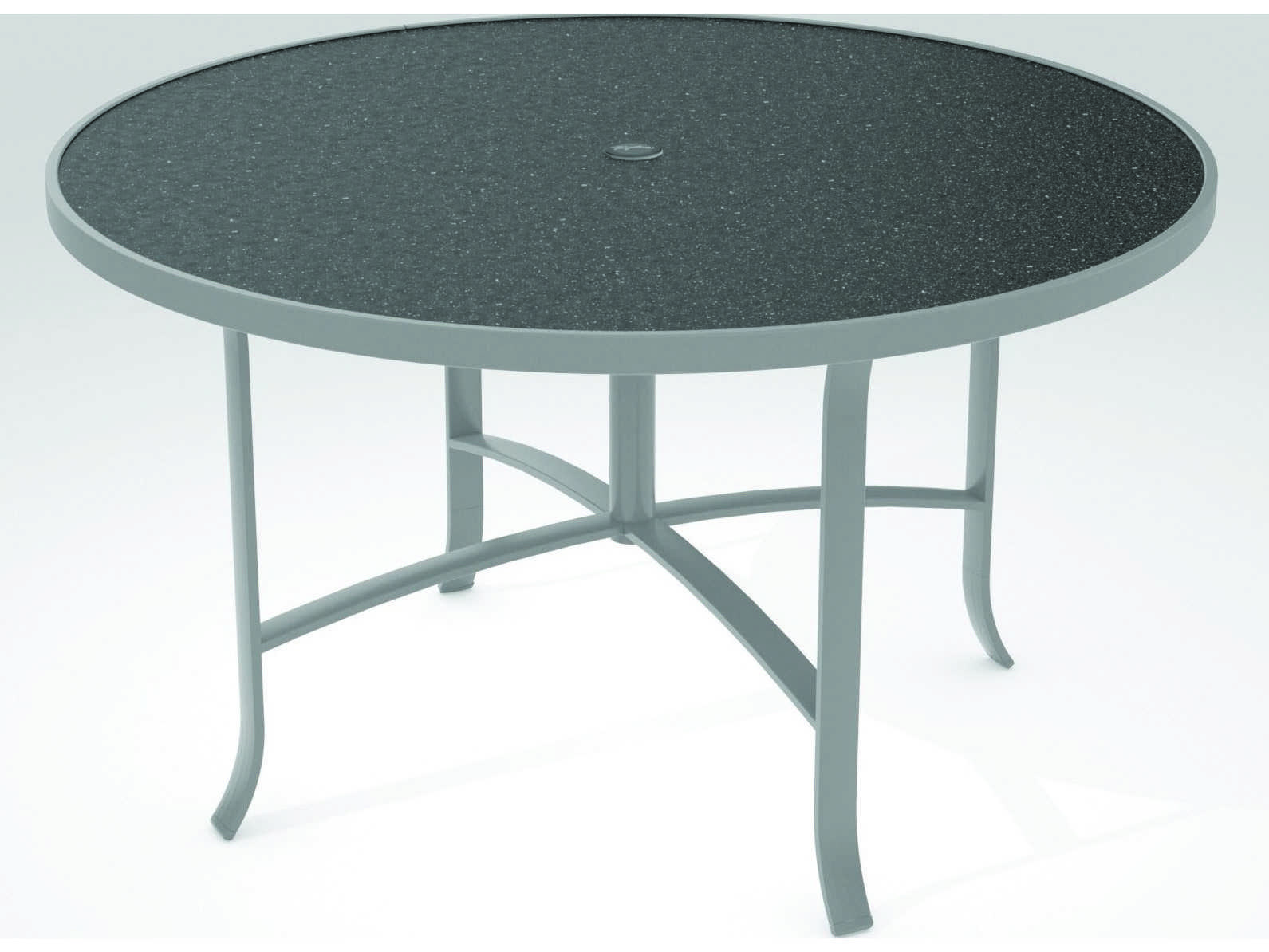 Tropitone Hpl Raduno Aluminum 48 Round Dining Umbrella Table 4248hu