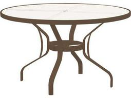 Tropitone Aluminum 48 Round Obscure Top Dining Table with Umbrella Hole