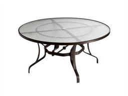 Tropitone Cast Aluminum 60 Round Obscure Top Dining Table with Umbrella Hole