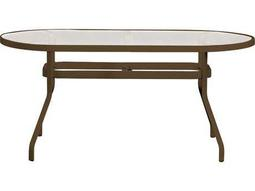 Tropitone Cast Aluminum 84 x 42 Oval Obscure Top Dining Table with Umbrella Hole