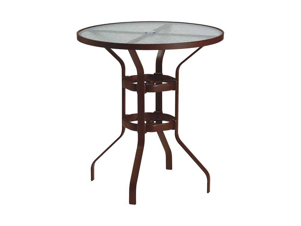 tropitone aluminum 36 round bar table with umbrella hole