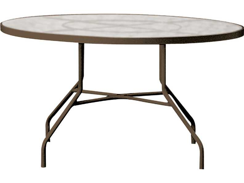 tropitone cast aluminum 42 round dining table with umbrella hole 42w x